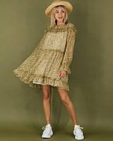 Летнее шифоновое платье с рюшами