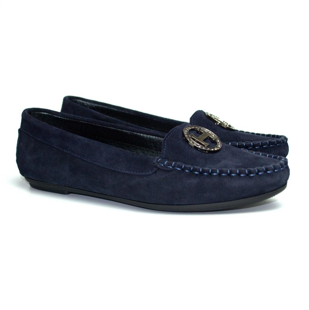 """Мокасины замшевые женская обувь больших размеров Ornella M4 O`Blu BS by Rosso Avangard цвет синий """"Сапфир"""""""