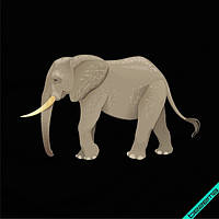 Термодрук на фатин Слон [Свій розмір і матеріали в асортименті], фото 1