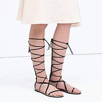 Красивые женские кожаные шлепанцы в римском стиле шнуровка 2 цвета, фото 1