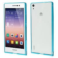 Чехол бампер slim aluminium alloy для Huawei Ascend P7 голубой