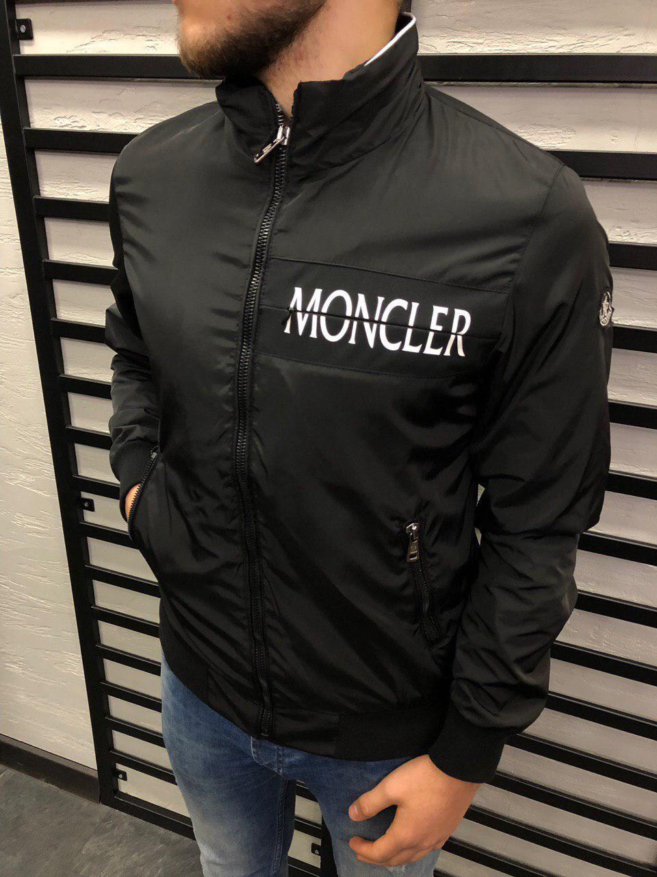 e4e53b5d23e28 Куртка мужская весенняя черного цвета Moncler топ-реплика - Интернет-магазин  обуви и одежды