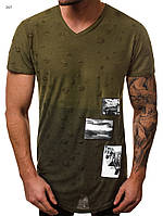 Мужская футболка оригинальная оливковая J.Style с V-образным вырезом и молнией