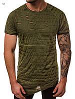 Мужская футболка оригинальная оливковая J.Style на шнуровке