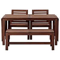 IKEA APPLARO Садовый стол с 2 стулами и скамейкой, коричневая морилка  (990.539.71), фото 1