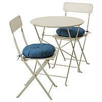 IKEA SALTHOLMEN Садовый стол и 2 раскладных стулья, бежевый, Иттерон синий  (091.838.25), фото 1