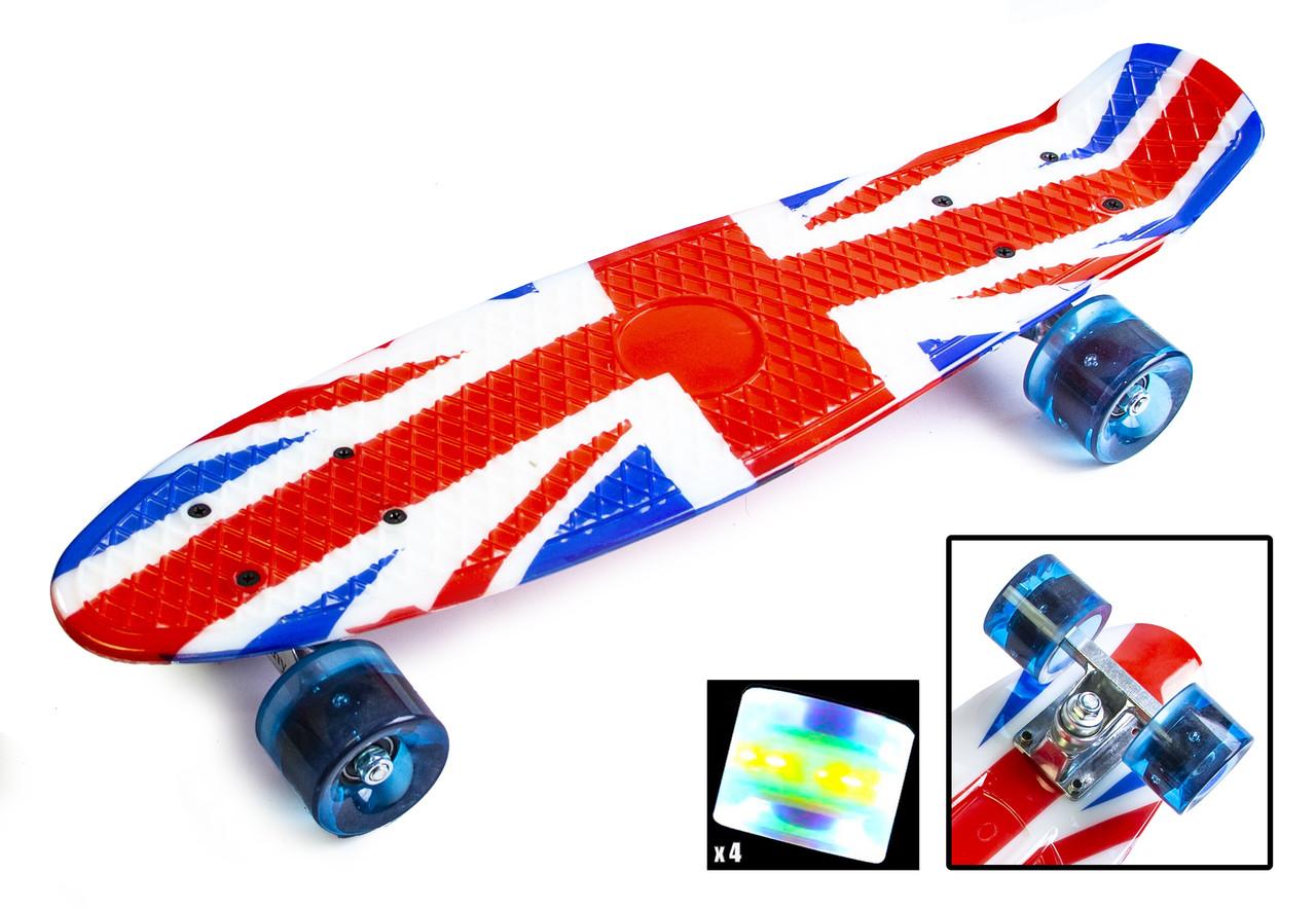 """Penny Board """"British flag"""". Светящиеся колеса"""