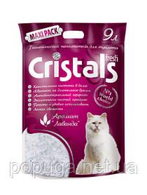Cristals Fresh Силикагелевый наполнитель с ароматом лаванды, 9 л