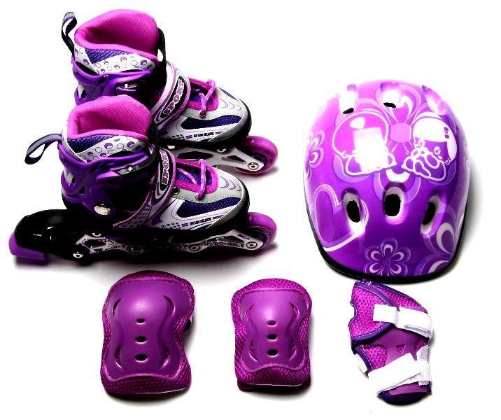 Комплект роликов с защитой и шлемом Happy. Фиолетовые. Размеры 29-33, 34-37