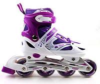 Ролики раздвижные Super Power с PU колесами. Фиолетовые. Размеры 29-33, 34-37, 38-41, фото 1