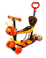 """Самокат Scooter """"Пчелка"""" 5 в 1. Оранжевый, фото 1"""
