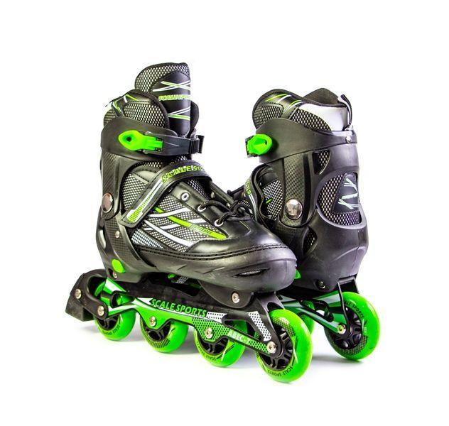"""Ролики с PU колесами раздвижные Scale Sports """"Adult Skates"""". Зеленые, размер 41-44"""