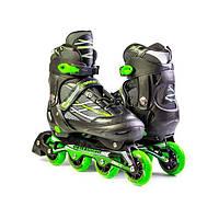 """Ролики с PU колесами раздвижные Scale Sports """"Adult Skates"""". Зеленые, размер 41-44, фото 1"""