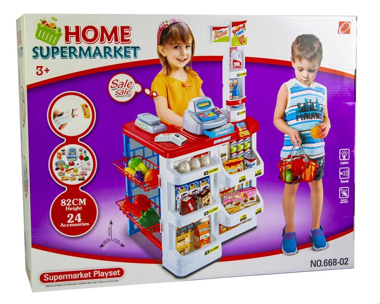 """Игровой набор """"Детский супермаркет"""" 668-02, с продуктами и кассой"""