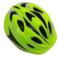 """Шлем для подростков """"Роллер"""" с регулировкой размера. Размер M: 52-56 см. Салатовый цвет."""