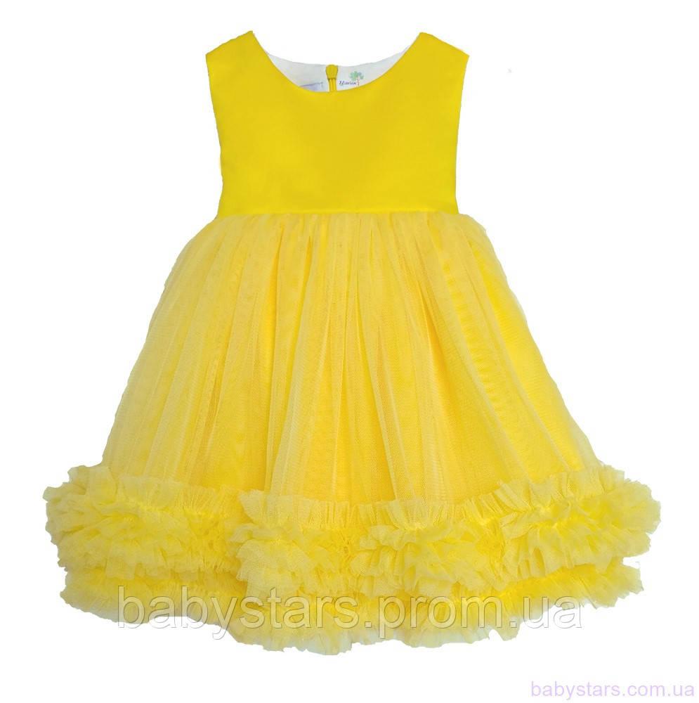 Яркое платье с фатином для девочки код: 7053, желтого цвета, размеры: от 80 до 116