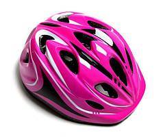 """Шлем для подростков """"Роллер"""" с регулировкой размера. Размер M: 52-56 см. Розовый цвет."""