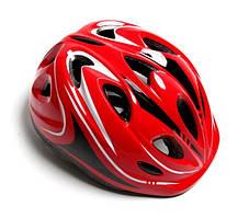 """Шлем для подростков """"Роллер"""" с регулировкой размера. Размер M: 52-56 см. Красный цвет."""
