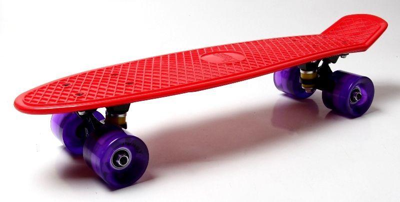 Penny Board. Red. Светящиеся фиолетовые колеса.