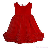 Яркое платье с бантом для девочки код: 7053, красного цвета, размеры: от 80 до 116