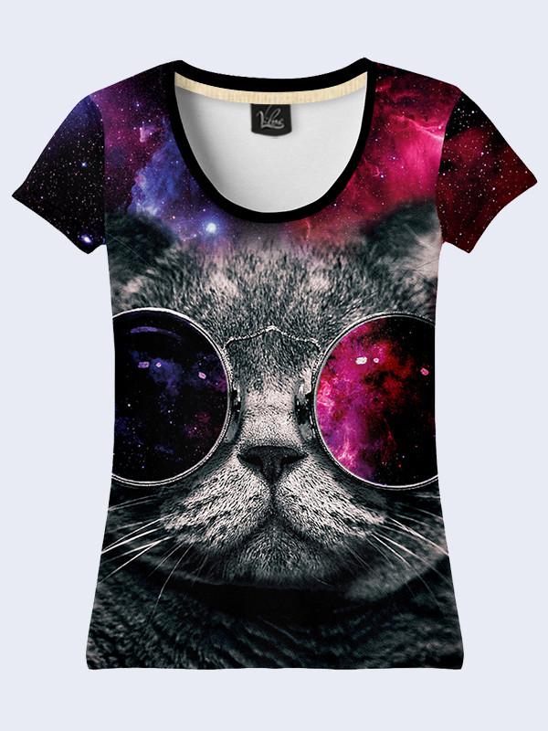 Женская футболка КОТ В ОЧКАХ