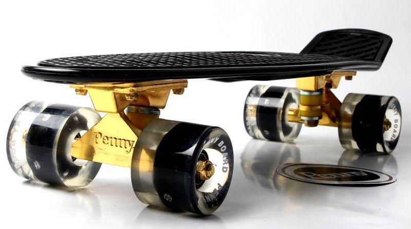 Penny Board Black. Logo. Золотая подвеска! Светящиеся и матовые черные колеса!