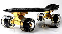 Penny Board Black. Logo. Золотая подвеска! Светящиеся и матовые черные колеса!, фото 1