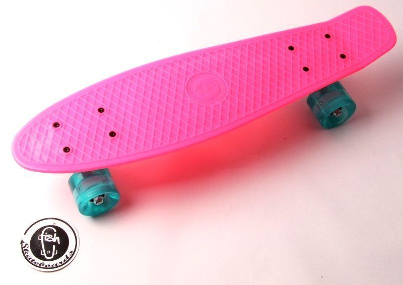 """Penny Board """"Fish"""" Малиновый цвет. Светящиеся колеса."""