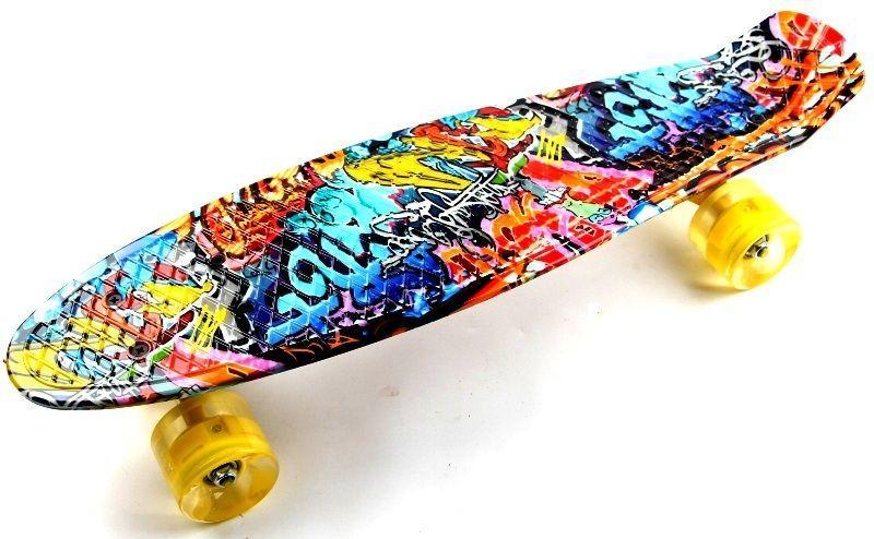 "Penny Board ""Cool Draft 2"" Graffiti Светящиеся колеса"