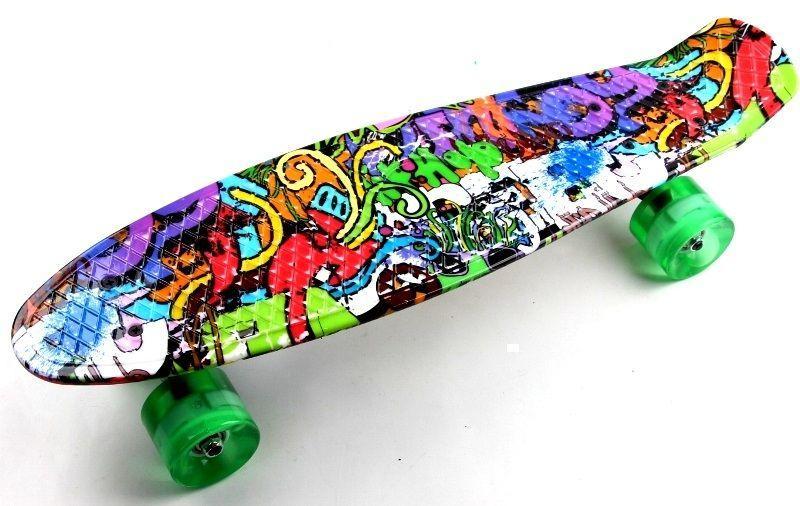 "Penny Board ""Graffiti"" Светящиеся колеса"