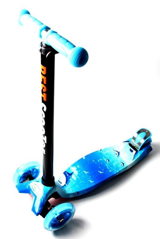 Детский самокат MAXI. Blue sea. Светящиеся колеса!