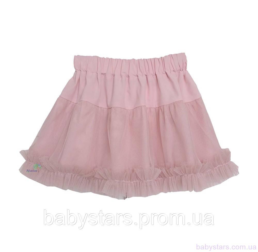 Легкая юбка для девочки, цвет пудра, код: 7051
