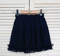 Воздушная юбка для девочек, темно-синего цвета, код: 7051