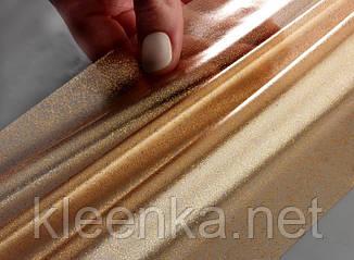 Полупрозрачная скатерть с золотым вкраплением, силиконовая клеенка на стол Золото, фото 2
