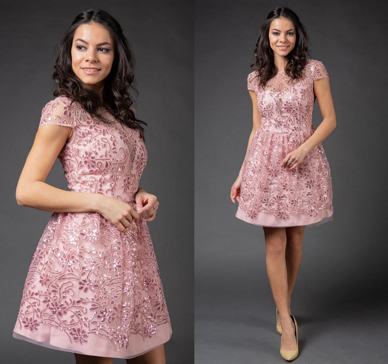 12ccb5572b7 Нарядное вечернее платье с пайетками. Пудра