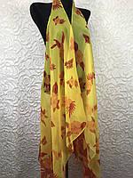 Женская желтая пляжная накидка в цветочный принт (цв.16)