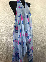 Женская голубая пляжная туника в цветочек (цв.17)