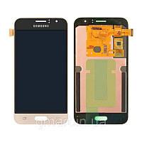 Дисплей для Samsung J120H Galaxy J1 2016 золотистый (LCD экран, тачскрин, стекло в сборе), Дисплей Samsung J120H Galaxy J1 2016 золотистий (LCD екран,