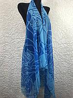 Шифоновая голубая накидка на купальник (цв.20)