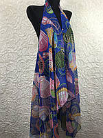 Женская синяя пляжная накидка на купальник (цв.21)