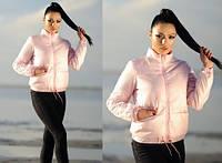 Модная демисезонная куртка женская стеганная весна/осень пудра