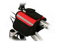 Велосипедная сумка на раму Roswheel, 2 отделения + карман  Красный
