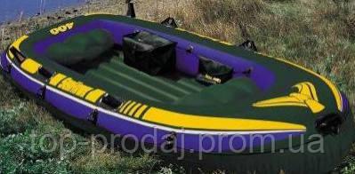 68351 Лодка четырехместная 351*145*48см алюм.весла, насос,Надувная большая лодка, Лодка с алюминиевыми веслами
