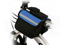 Велосипедна сумка на раму Roswheel, 2 відділення + кишеня  Синій