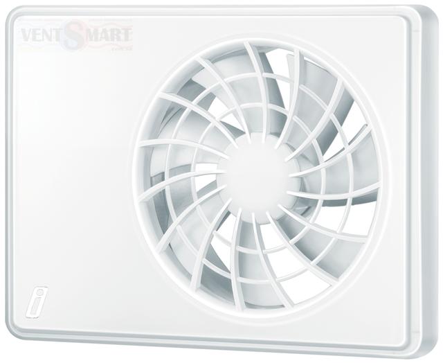 Внешний вид (фото, изображение) интеллектуального супертихого вентилятора для ванной Вентс іФан Цельсій 100/125 белого цвета. Вентилятор обладает инновационнім дизайном, имеет крайне малое энергопотребление, обладает высокой продуктивностью и очень малым уровнем шума.