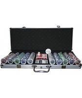 Покерный набор в кейсе 500 фишек с номиналом