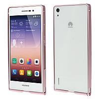 Чехол бампер slim aluminium alloy для Huawei Ascend P7 розовый