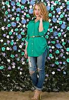 Рубашка зеленая 100% хлопок 48р
