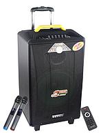 Колонка акумуляторная Temeisheng QX-1214 комбоусилитель акустика USB/FM/Bluetooth с радиомикрофонами Реплика