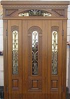 Дверь входная со стеклопакетом и ковкой элитная